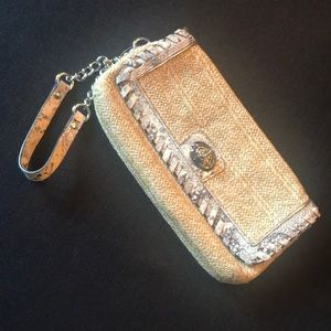 COACH straw clutch with snakeskin trim!